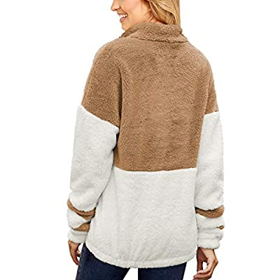 GRAPENT Women's Casual Long Sleeves Stand Collar Buttons Pockets Fleece Pullover: Clothing