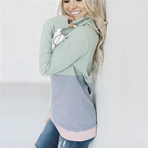 Dames Bleu Et S Mode shirt Toogoo Femmes Pour Cordon Rose Gris Sweat Couleur Avec Manches Pulls De Montant Bloc Capuche Longues Serrage Chauds Vert Couture Col La En A 8fg8w