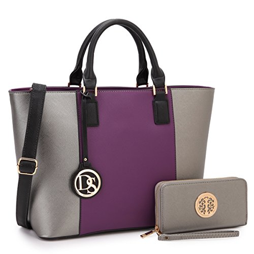 Purple Girls Satchel Purse Pewter Women Pockets 6417 Summer Multi Medium Gift Lady Lightweight Designer Mom Tote for Handbag Teen 7IqWT