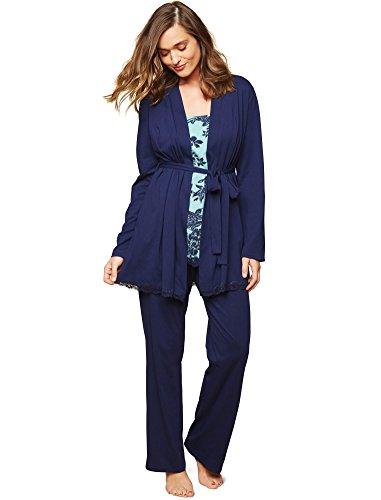 Motherhood Lace Trim 3 Piece Maternity Pajama (3 Piece Lace Trim)