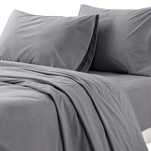 Bedsure Flannel Bed Sheet Set-4 Pieces Set-160 Gram-Fuzzy Fleece Surface- Super Warm Soft Sheets-Deep Pockets Fitted-Gray-Queen Size Bed Sheets