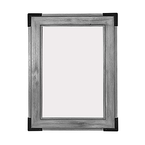 """MAYKKE Cassidy 28"""" W X 36"""" H Bamboo Framed Wall Mirror Rustic & Cottage Chic Bathroom Vanity Wood Glass Panel Distressed Farmhouse Horizontal or Vertical Orientation Weathered Gray, NHA1290401"""