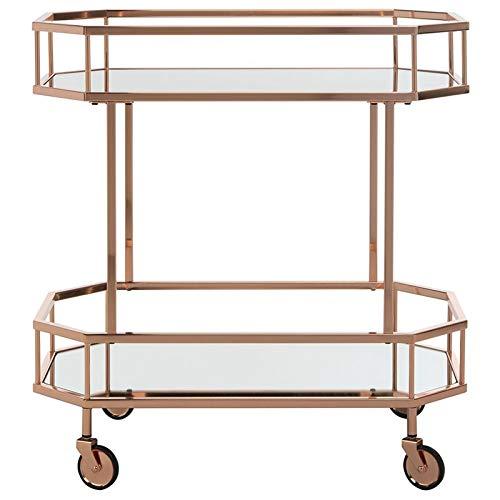 Safavieh BCT8004A Silva Bar Cart, Rose Gold/Mirror by Safavieh (Image #2)