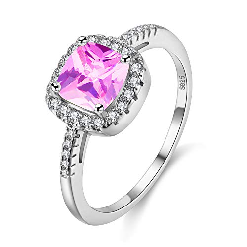 (Uloveido Cushion Cut Lab Pink Tourmaline Ring, October Birthstone Ring for Mothers, Square Graduation Ring for Girlfriend (Pink, Size 7) Y3100 )