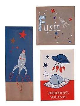 Vertbaudet - 3 tableaux fusées déco chambre enfant: Amazon.fr: Bébés ...
