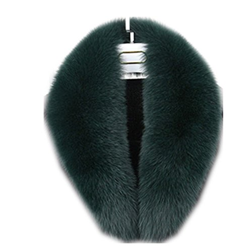 Real Fur Collar Coat Raccoon Detachable Genuine Fox Fur Scarf Women Collar Accessories Scarves Wraps Shawls (110cm, green)