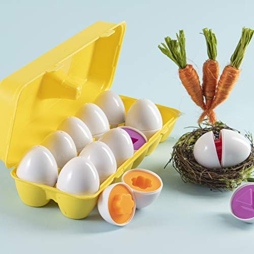 Prextex My First Find and Match Easter Matching Eggs with Yellow Eggs Holder - STEM Toys Educational Toy for Kids and Toddlers to Learn About Shapes and Colors Easter Gift by Prextex (Image #2)