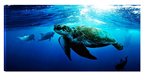 Away Wall Art - Wall Art Printed Painting on Canvas A Big Turtle Swimming Leisurely Underwater with Sunshine and Dolphins Play Far Away Easy Hang for Home Decoration 20x40inches (20 inches, 40inches)