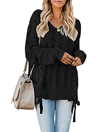 YeMgSiP Womens Oversized Pullover V Neck Chunky Cable Knit Sweaters Fall Plus Size Warm Jumper Tops - Black - Small