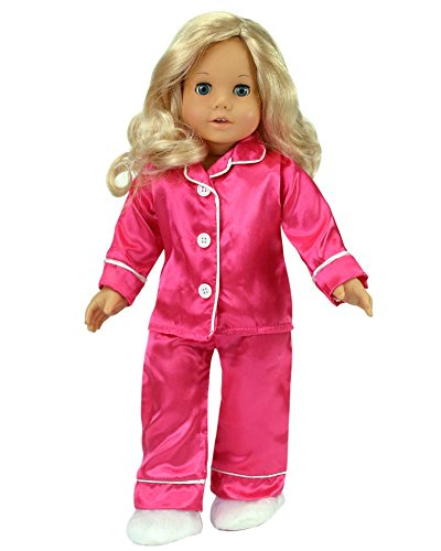 18 Inch Doll Clothing Set with Ice Blue Princess Dress and Tiara Satin Purse and Silver Kitten Heels Sophia/'s Pink Striped T Jeans and Fur Boots in Pink Pink Sequin Dress Fur Vest