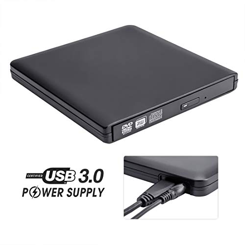 External DVD Drive with Power Supply Cable, ROOFULL Portable USB 3.0 CD DVD +/-RW Optical Drive Burner Player, Compatible for Windows 10 Laptop Computer Surface Pro Mac MacBook Pro Air iMac, Black (Best Media Player For Windows Xp)