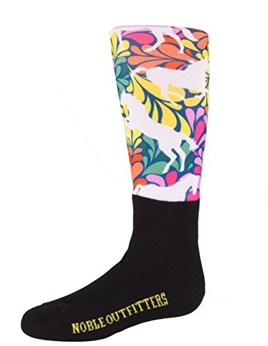 Noble Outfitters Socks Peddies Over The Calf Riding Girls Flower Power Horse Orange Yellow Pink Blue by Noble Outfitters