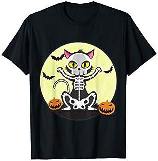 Cat Skull  Cat Lovers Halloween  Kitty Skeleton T-shirt | Size S - 5XL