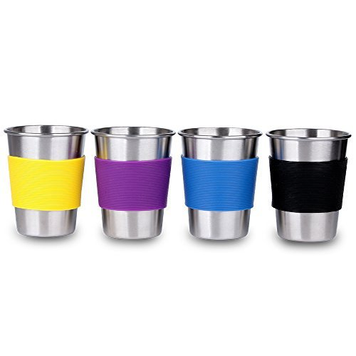 LEGERM Metal Kids Cups 11 oz Stainless Steel Drinking Glasses with Silicone Sleeve Set of 4