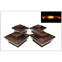 """12-Pack Solar Copper Finish Post Deck Fence Cap Lights for 4"""" X 4"""" Post with Amber LEDs and Vertical-lined Clear Lens"""