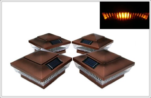 12-Pack Solar Copper Finish Post Deck Fence Cap Lights for 4″ X 4″ Post with Amber LEDs and Vertical-lined Clear Lens