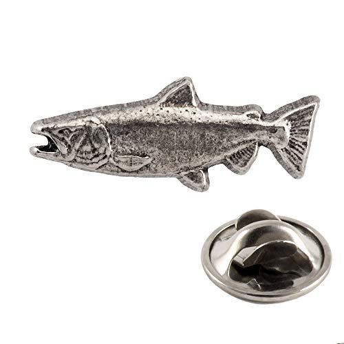 King Chinook Salmon Ocean Fish Large Pewter Mini Lapel Pin, Brooch, Jewelry, F040MP