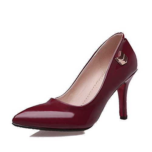 VogueZone009 Women's Pull-on PU Pointed Closed Toe High-Heels Solid Pumps-Shoes Claret kvv7i3M