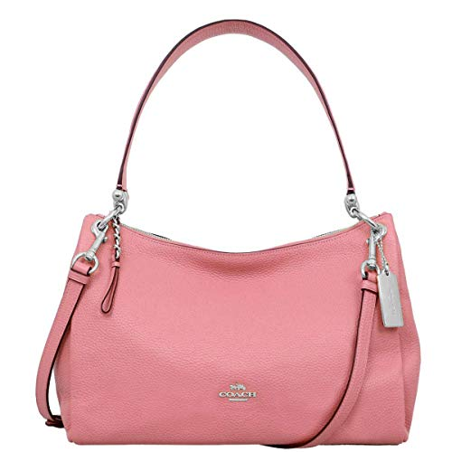 Coach Womens Refined Pebbled Leather MIA F28966 Shoulder Bag Coral Pink