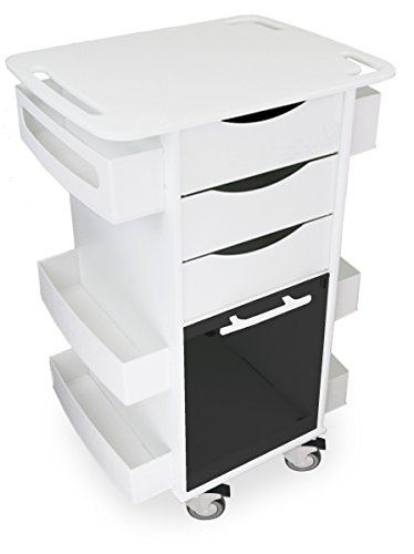 TrippNT 53161 Polyethylene/ABS Locking Core DX Multi-Tasking Medical Cart with Smoke PETG Sliding Door, 23'' Width x 35'' Height x 19'' Depth, White by TrippNT