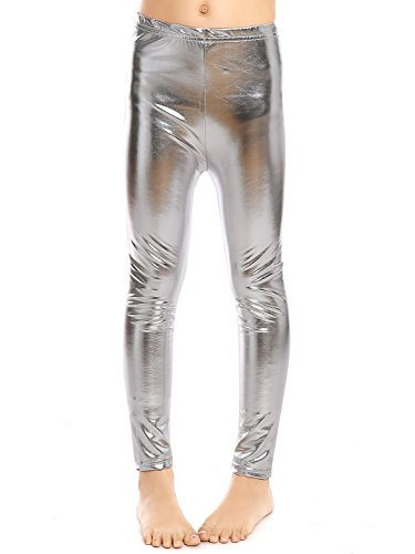 Aaronano Little Girls' Metallic Color Shiny Stretch Leggings Size L(5T-6T) Silver -