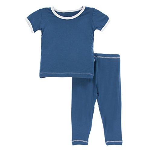 KicKee Pants Little Boys Solid Short Sleeve Pajama Set, Twilight with Natural, Boys 5 Years
