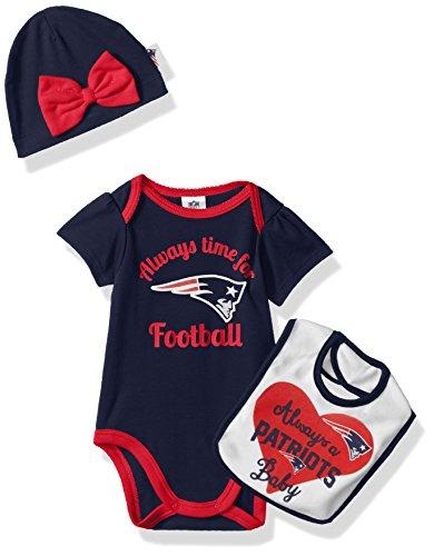 Gerber Childrenswear NFL New England Children Girls Bodysuit, Bib & Cap Set, 3-6 Months, Patriots