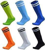 VWU 6 Pairs Unisex Knee High Double Two Stripe Athletic Soccer Football Tube Socks
