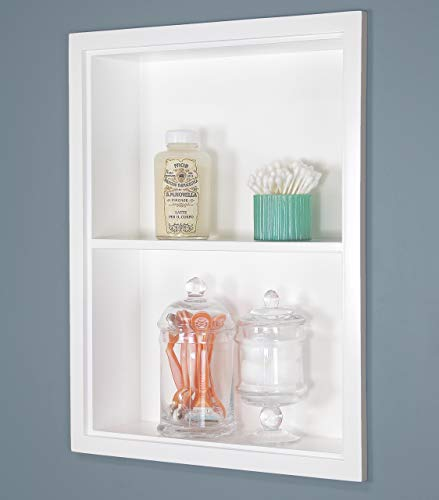 Fox Hollow Furnishings 14x18 Recessed White Sloane Wall Niche w/Plain Back and 1 Shelf (Fox Medicine)