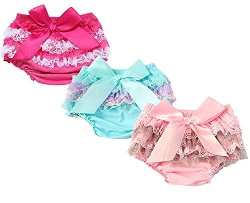 QandSweat Baby Girl Bloomer Diaper Cover Toddlers Cute Lace Design Bloomers Value Pack of 3 (0-6M, ROSEO Blue - Diaper Panty Bloomers Pink Cover