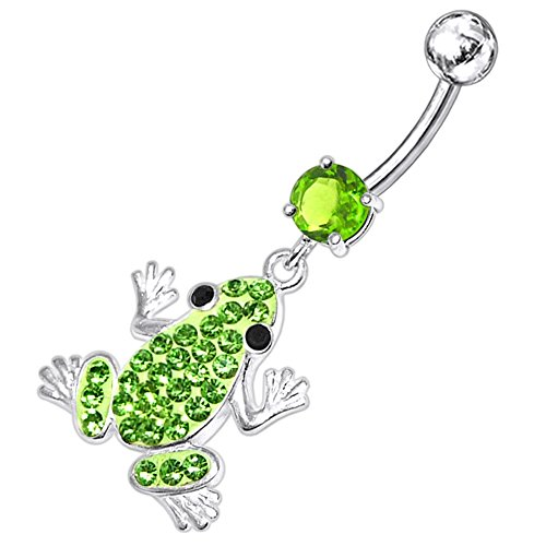 Peridot Green CZ Stone with Multi Crystal Stone Frog Dangling Design 925 Sterling Silver Belly Button Piercing Ring Jewelry