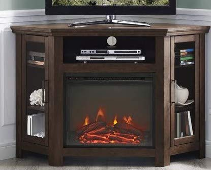 Tv Stand With Fireplace-Space Heaters for Indoor Use- Traditional Brown Wood for Up to 50 Inch Corner Stand - Turn Up The Ambiance of Your Room