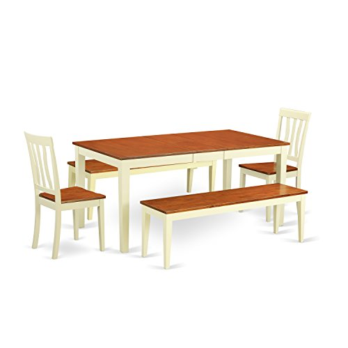 East West Furniture NIAN5N-WHI-W 5Piece Dining Room Set with Bench-Kitchen Tables & 2 Dining Chairs Plus 2 Bench