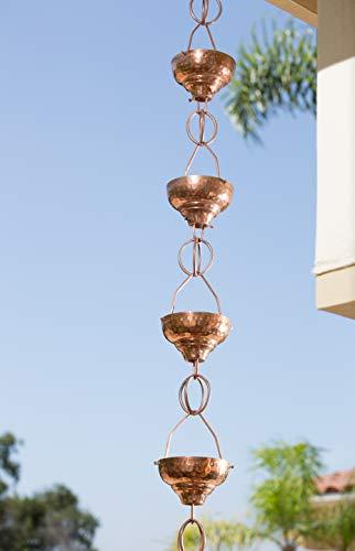 Monarch Pure Copper Eastern Hammered Cup Rain Chain, 8-1/2-Feet Length by Monarch Rain Chains (Image #3)