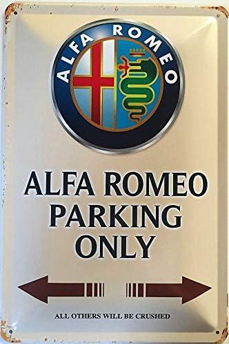 Deko7 Cartel de chapa dise/ño de Alfa Romeo Parking Only marr/ón 30 x 20 cm