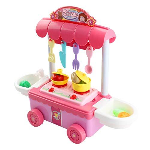 UMFun Children Gift Kitchen Cart Play Set Kids Pretend Play Toy Food Toys Education -