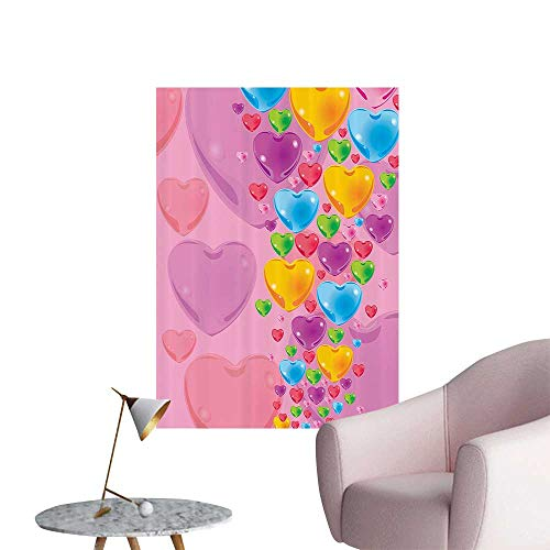 - Wall Decals Romantic Stylized with Crystal HeartsFun Celebration Environmental Protection Vinyl,32