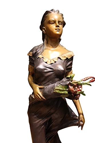 Woman Holding Bouquet Standing on Lily Bronze Statue/Fountain 28