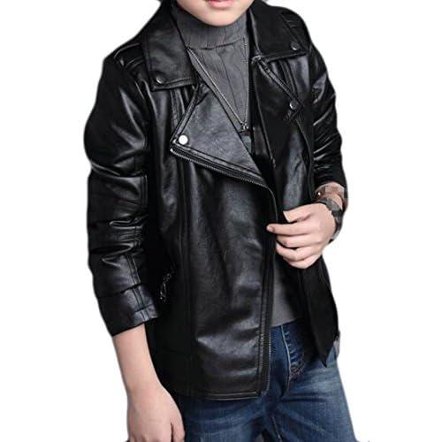 hot sell Sweatwater Boys' Fashion Lapel Oblique Zipper Faux Leather Moto Jacket