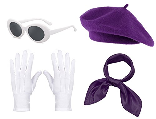 Fancy Clothing Womens French Beret Hat Chiffon Scarf Gloves Sunglasses Costume Accessories -