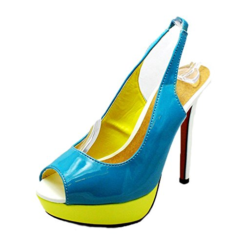 SendIt4Me Señoras brillantemente Coloreado Peep Toe de Plataforma Honda Espalda Sandalias/Zapatos Turquoise