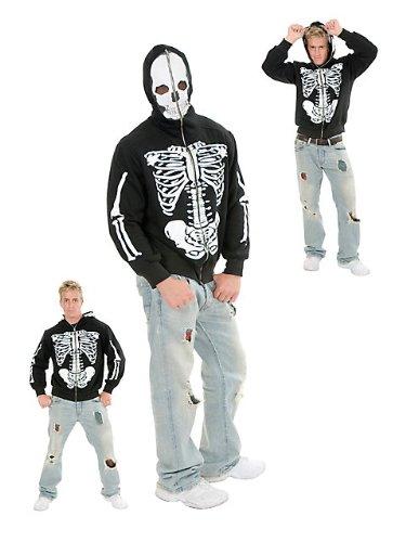 Charades Men's Skeleton Hoodie, Black/white, Large (Skeleton Hoodies)