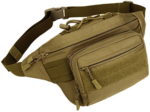 PlasMaller Military Fanny Pack Tactical Waist Bag Pack Water-Resistant Hip Belt Bag Pouch for Hiking Climbing Outdoor Bumbag, Coyote Brown