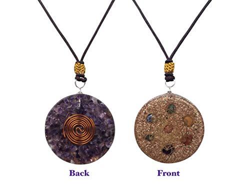 (Reversible Orgone Pendant | Metatron Cube Symbol Orgonite | EMF Protection | 2 inch Diameter with Adjustable Necklace | Reiki Infused 7 Chakras Stones)