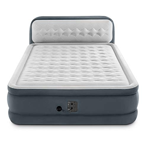 Intex Queen Ultra Plush Dura Beam Deluxe Airbed with Built in Pump & Headboard