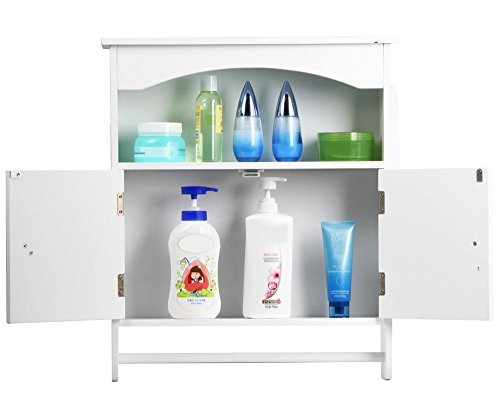 Topeakmart White Wood Bathroom Wall Mount Cabinet Toilet Medicine Storage Organizer Bar by Topeakmart (Image #7)