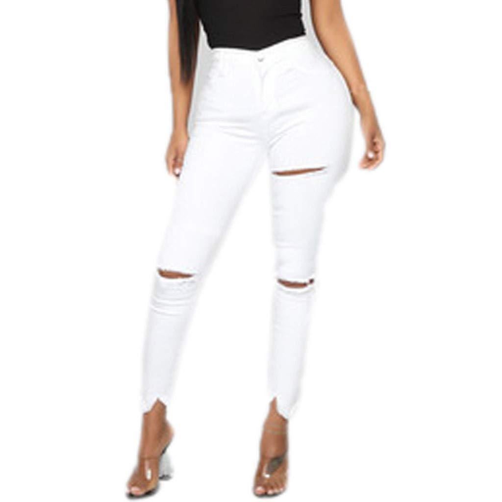 Waiimak Women's Butt-Lifting Skinny Jeans Ripped Destroyed Denim Mid Waist Stretch Pencil Pants (White,L) by Waiimak