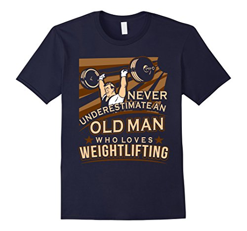 Mens An Old Man Who Loves Weightlifting T-Shirt XL Navy from Weightlifting T-Shirts
