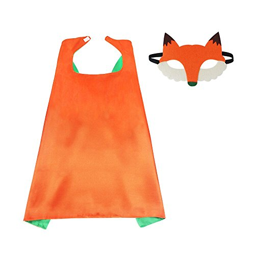 Kids Fox Costume Dress up Cape and Animal Mask-Girls Boys Cosplay Superhero Party Supplies (#1 Cape with Fox mask)]()