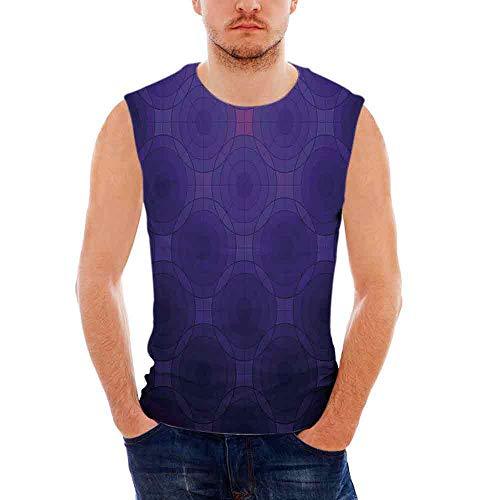 iPrint Mens Performance Muscle T- Shirts Indigo,Geometric Circles Tile Like Detailed I